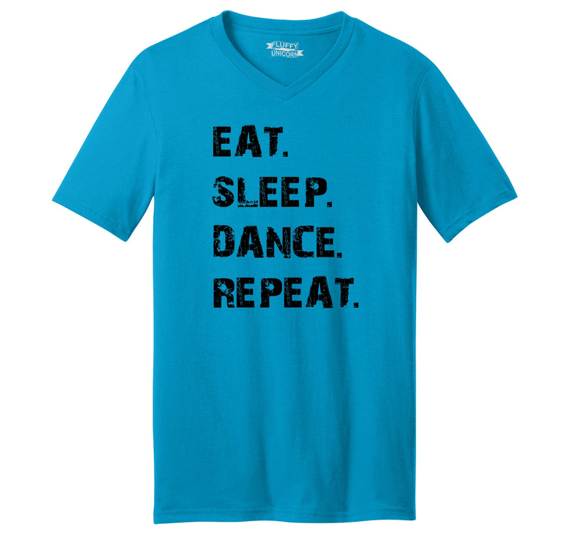 Eat Sleep Dance Repeat Mens Short Sleeve Ringspun V Neck