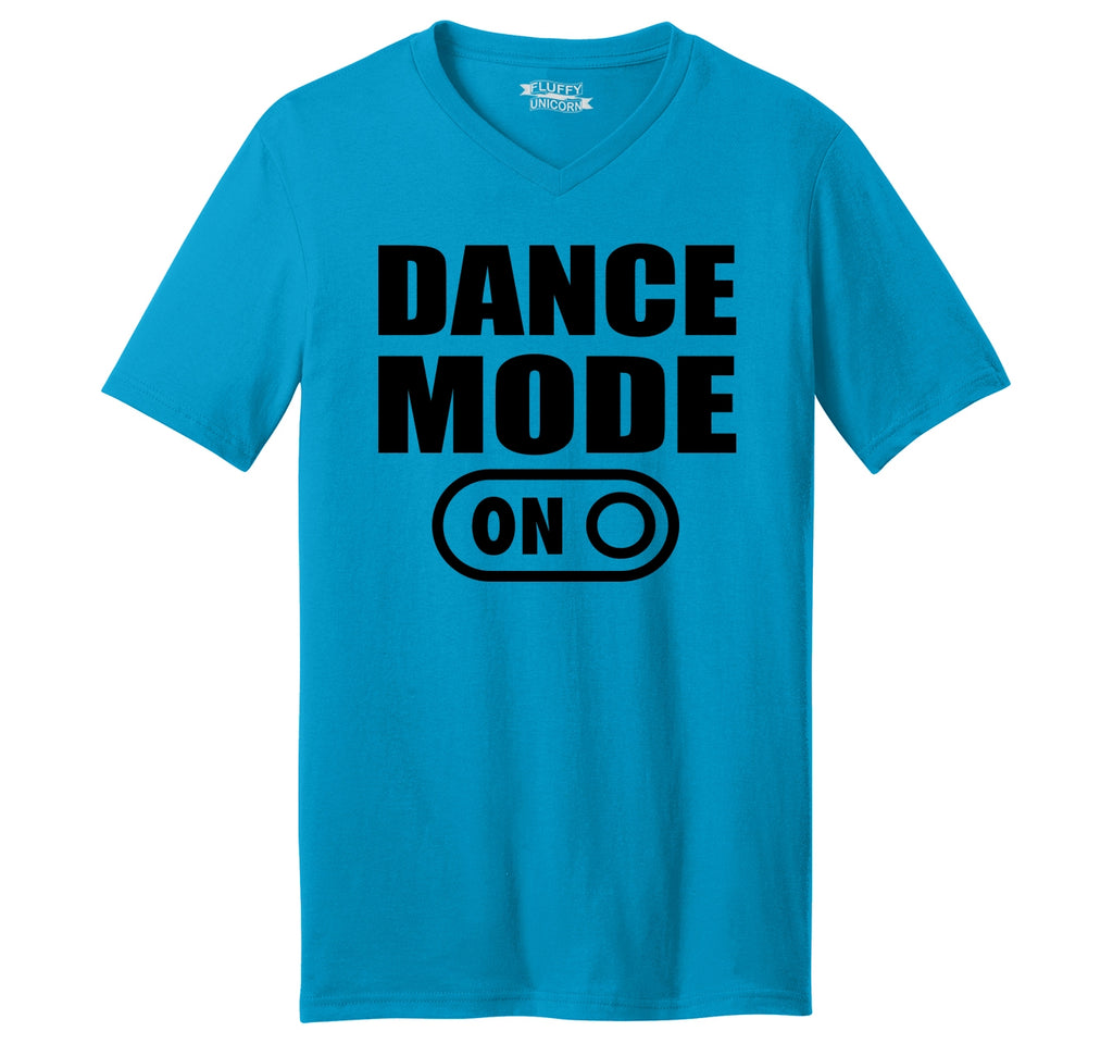 Dance Mode On Mens Short Sleeve Ringspun V Neck