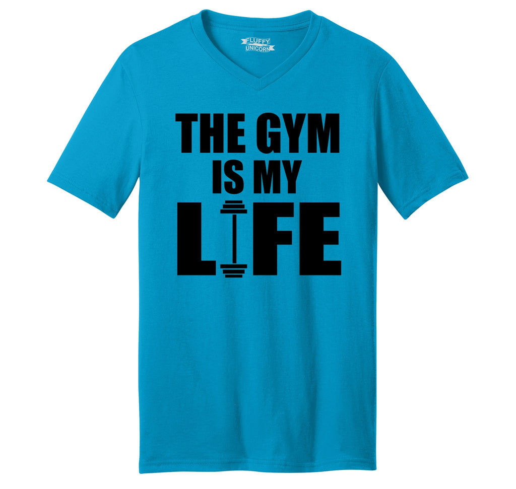 The Gym Is My Life Funny Workout Gym Trainer Gift Shirt Mens Short Sleeve Ringspun V Neck