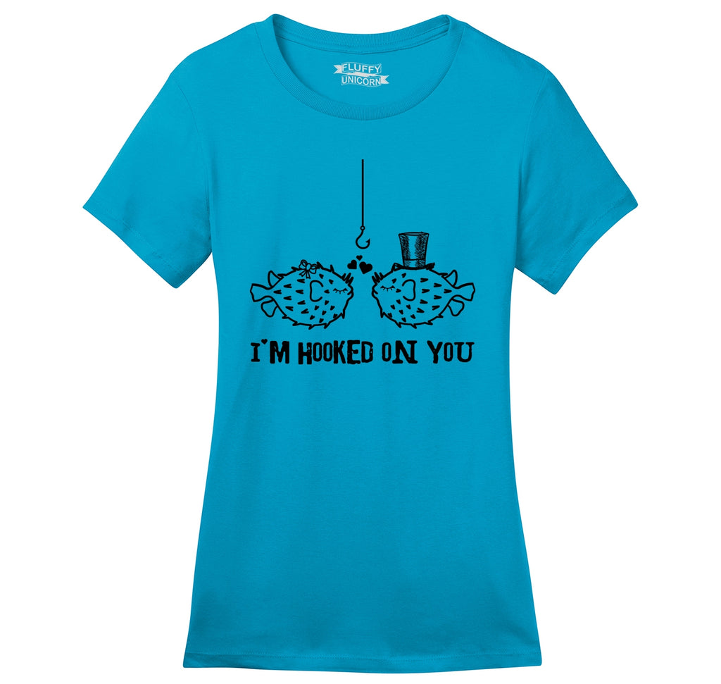 I'm Hooked On You Funny Tee Fish Valentines Day Gift Tee Ladies Ringspun Short Sleeve Tee