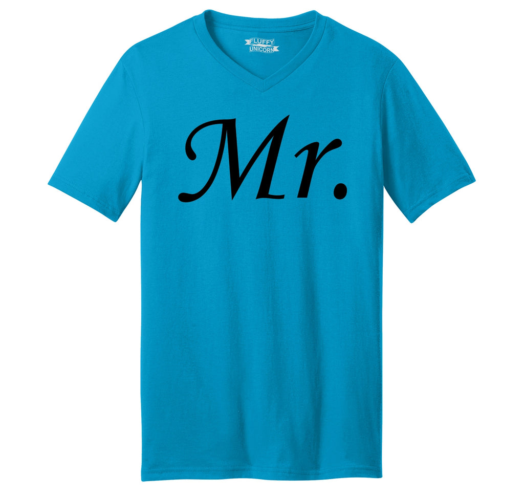 Mr. Groom Wedding Gift Mens Short Sleeve Ringspun V Neck