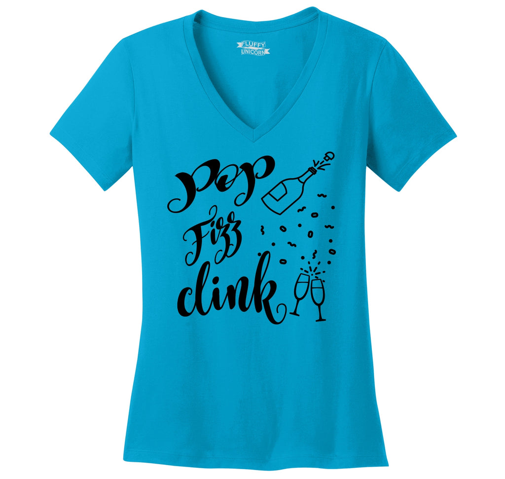 Pop Fizz Clink Ladies Ringspun V-Neck Tee