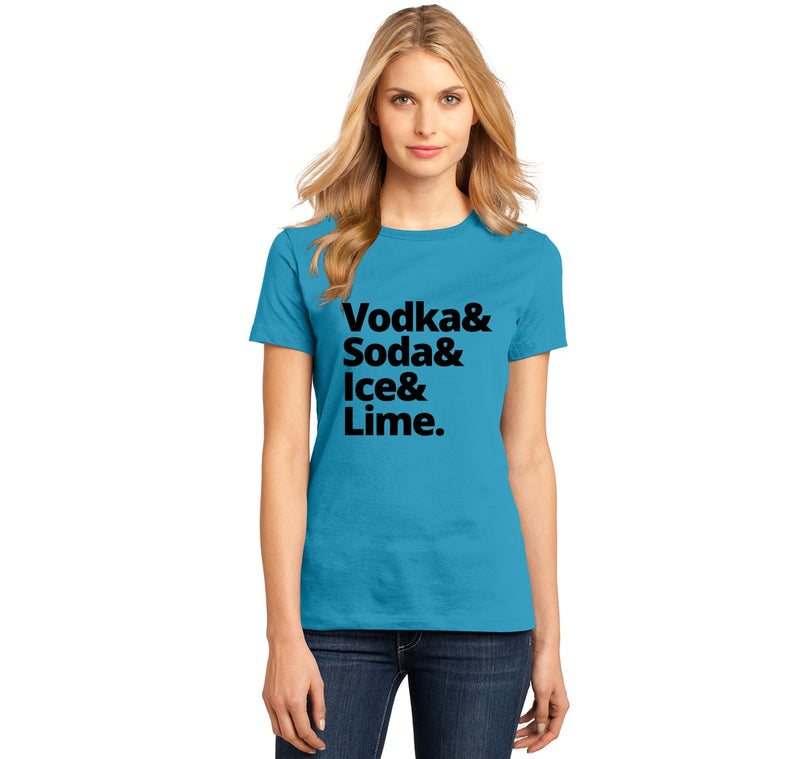 Vodka Soda Ice And Lime Ladies Ringspun Short Sleeve Tee