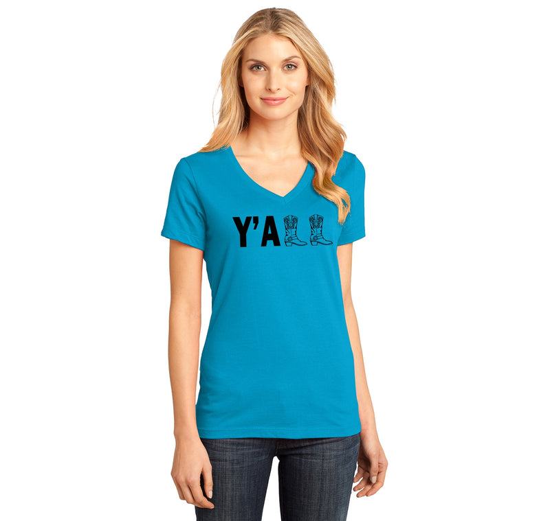 Y'ALL Cute Western Southern Country Cowgirl Cowboy Boots Shirt Ladies Ringspun V-Neck Tee