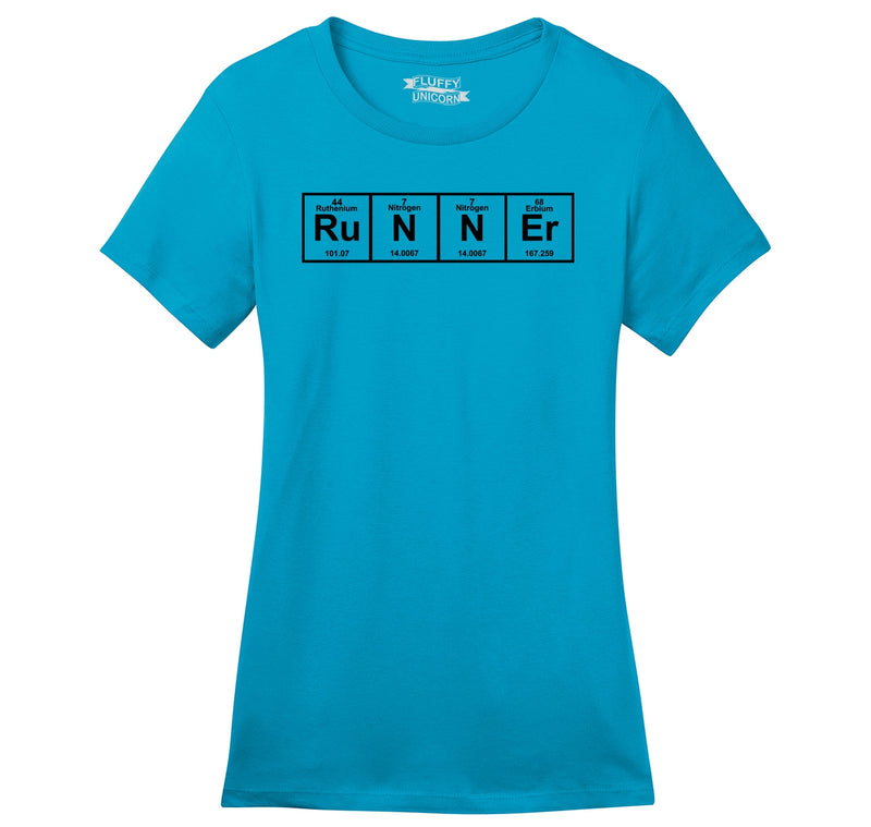 Runner - Periodic Table Of Elements Ladies Ringspun Short Sleeve Tee