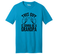 This Guy Is Gonna Be A Grandpa Mens Short Sleeve Ringspun V Neck