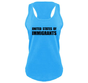 United States of Immigrants Ladies Gathered Racerback Tank Top
