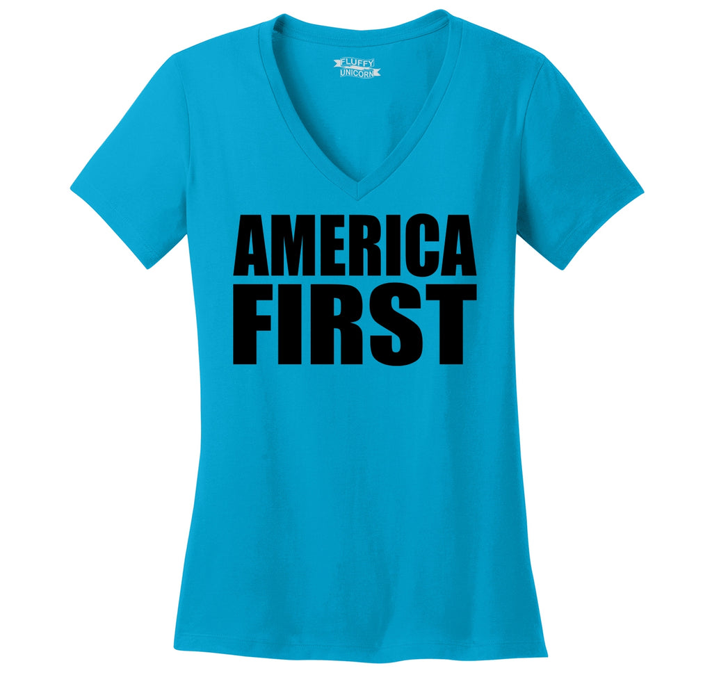 America First Tee President Donald Trump Political USA Patriotic Tee Ladies Ringspun V-Neck Tee