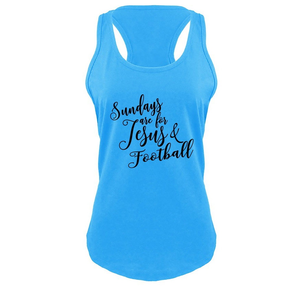 Sundays Are For Jesus & Football Ladies Gathered Racerback Tank Top