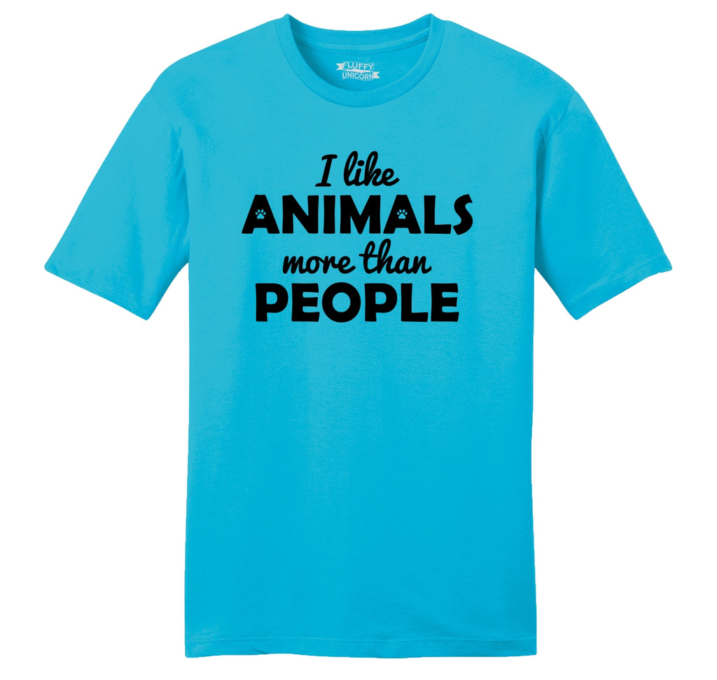 I Like Animals More Than People Mens Ringspun Cotton Tee Shirt
