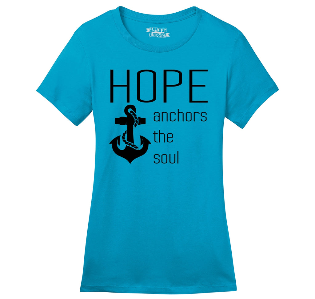 Hope Anchors The Soul Inspirational Tee Ladies Ringspun Short Sleeve Tee