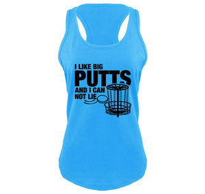 I Like Big Putts Funny Chain Frisbee Golf Graphic Tee Ladies Gathered Racerback Tank Top