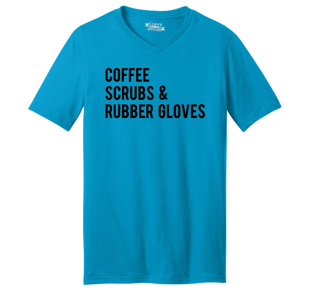 Coffee Scrubs Rubber Gloves Mens Short Sleeve Ringspun V Neck