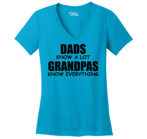 Dads Know A Lot Grandpas Know Everything Ladies Ringspun V-Neck Tee