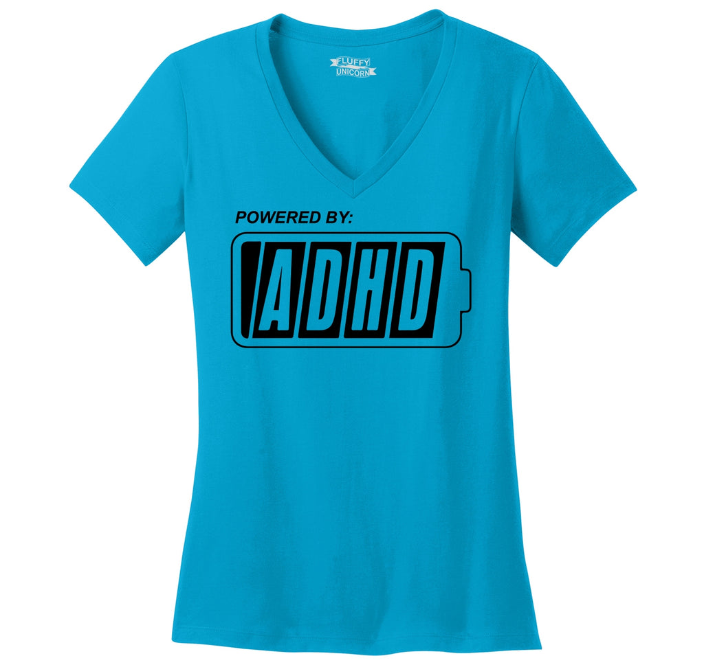 Powered By ADHD Funny ADD Shirt Ladies Ringspun V-Neck Tee