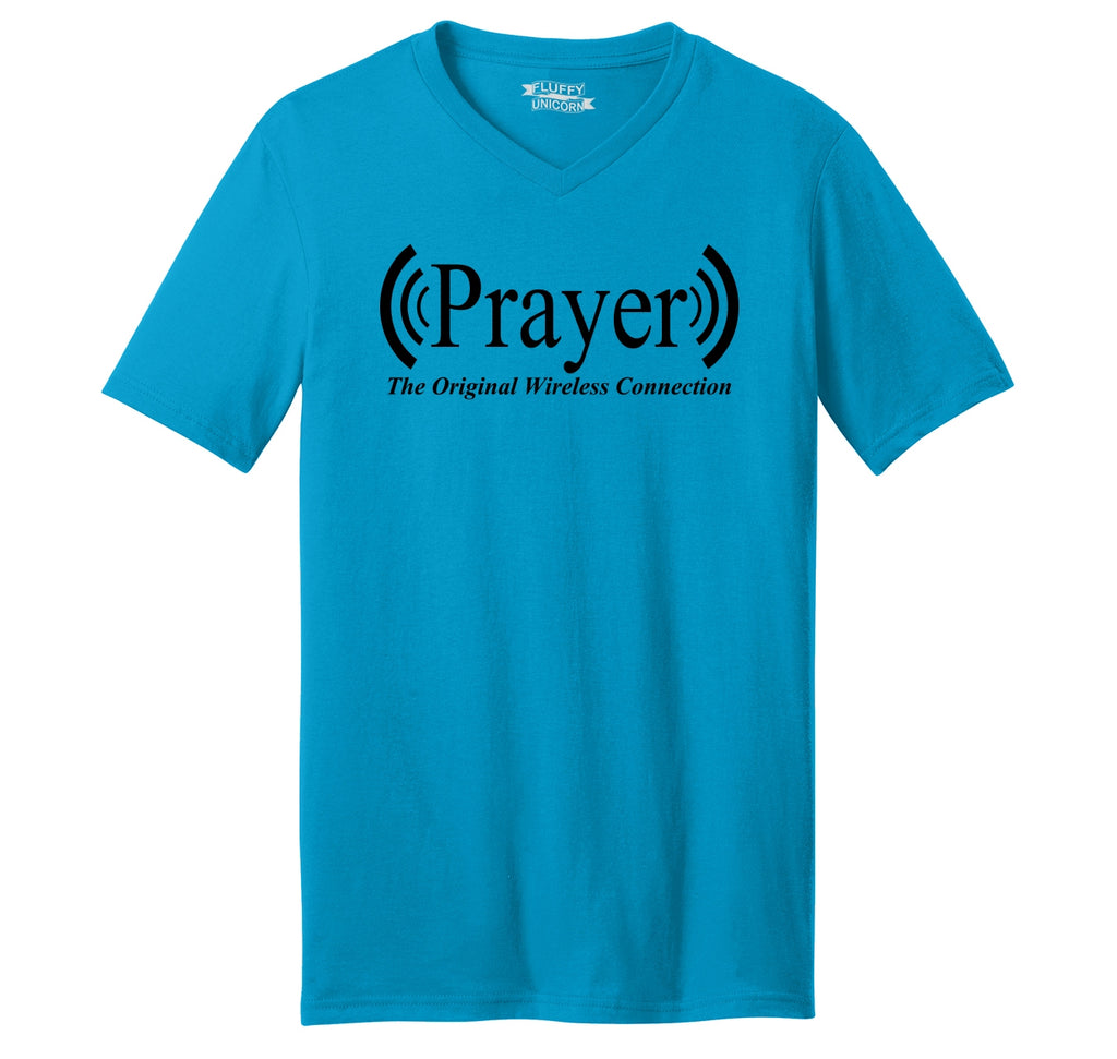 Prayer The Original Wireless Connection Mens Short Sleeve Ringspun V Neck