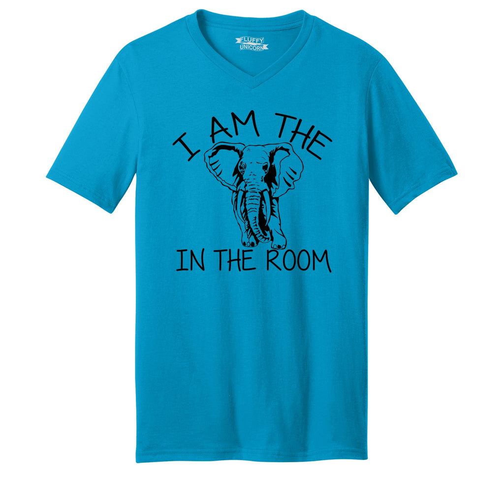 I Am The Elephant In The Room Mens Short Sleeve Ringspun V Neck