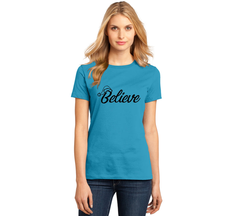 Believe in Santa Ladies Ringspun Short Sleeve Tee
