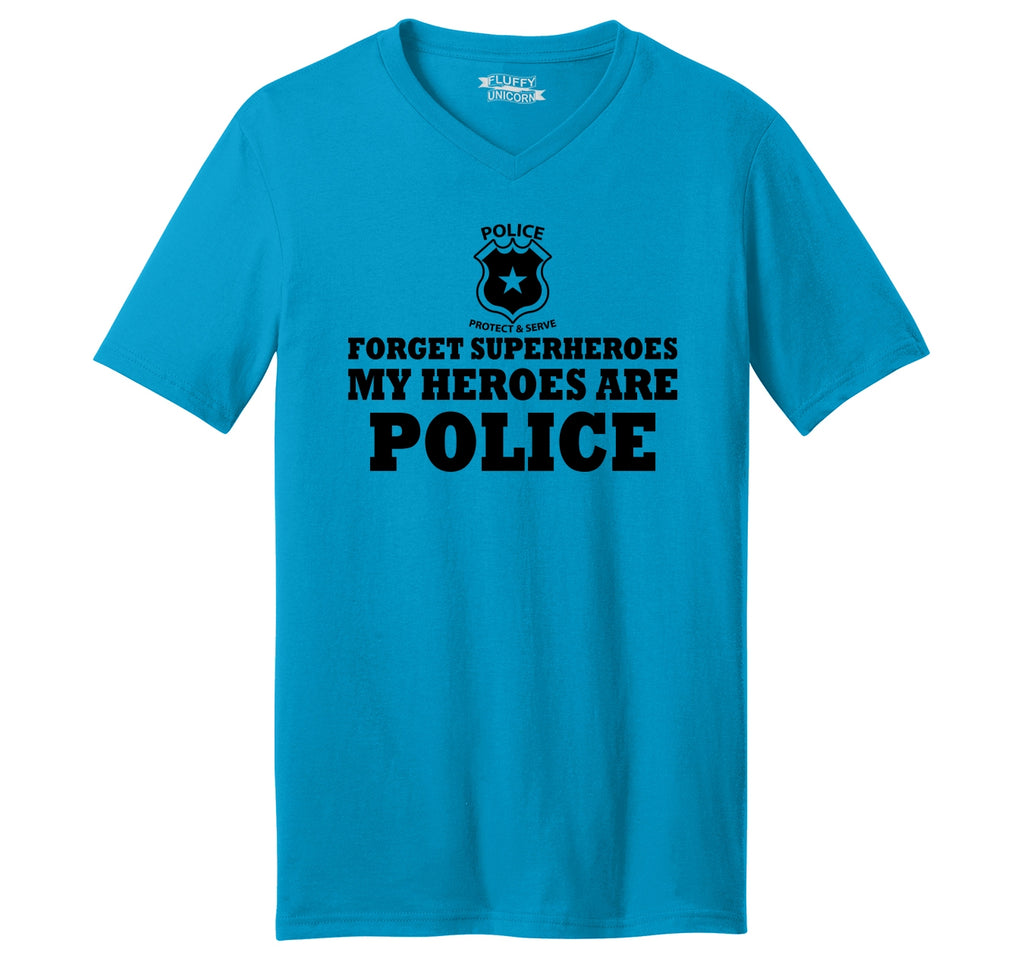 Forget Superheroes Police Are My Heroes Tee Blue Lives Political Tee Mens Short Sleeve Ringspun V Neck