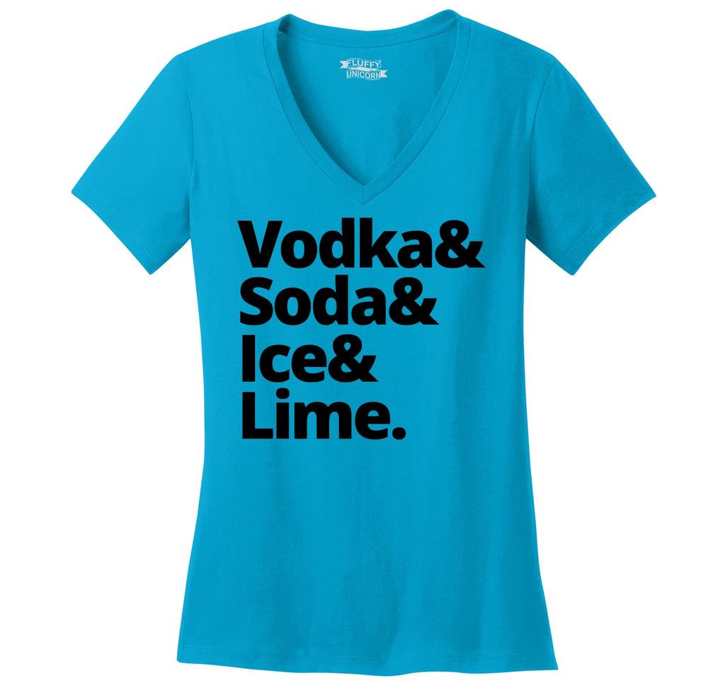 Vodka Soda Ice And Lime Ladies Ringspun V-Neck Tee