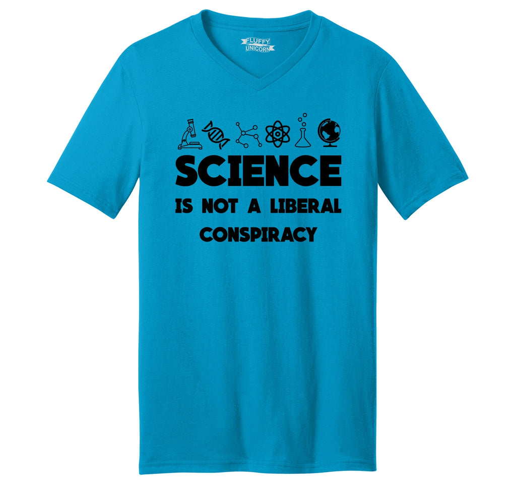 Science Not A Liberal Conspiracy Mens Short Sleeve Ringspun V Neck