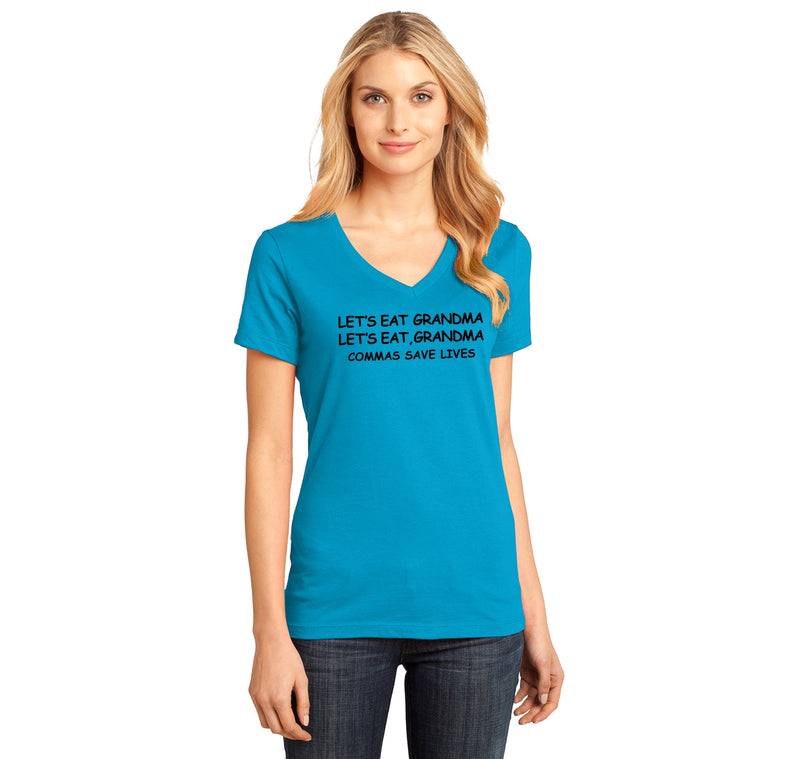 Lets Eat Grandma Let's Eat Grandma Grammar Ladies Ringspun V-Neck Tee