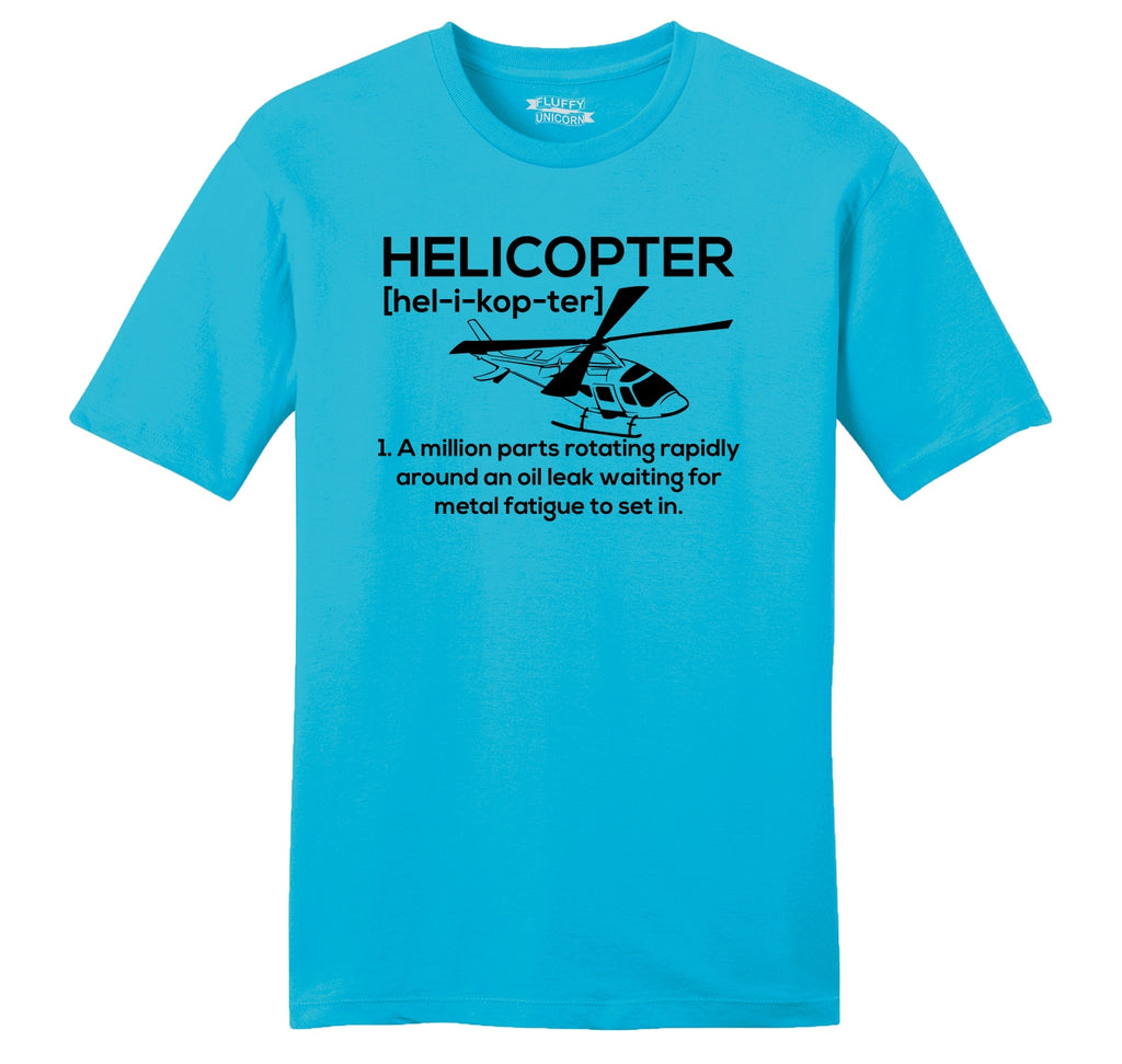 Funny Helicopter Pilot Gift Tee Mens Ringspun Cotton Tee Shirt