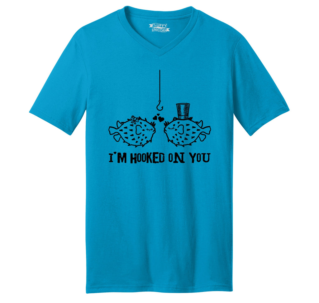 I'm Hooked On You Funny Tee Fish Valentines Day Gift Tee Mens Short Sleeve Ringspun V Neck