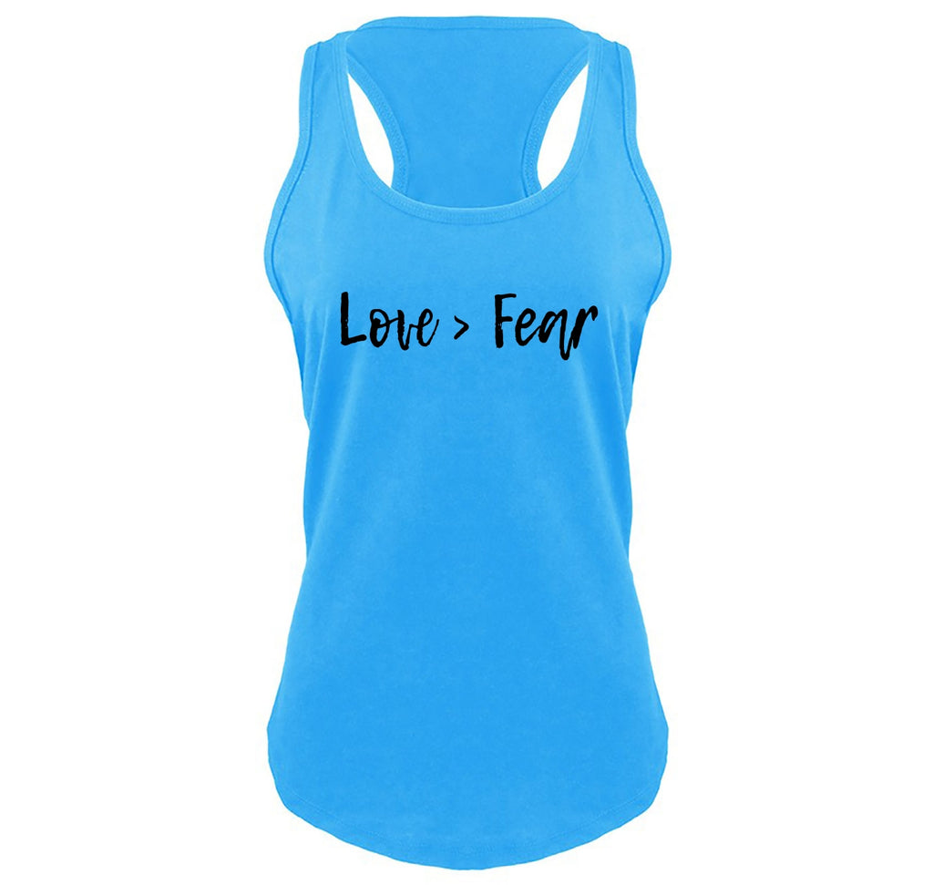 Love Is Greater Than Fear Ladies Gathered Racerback Tank Top