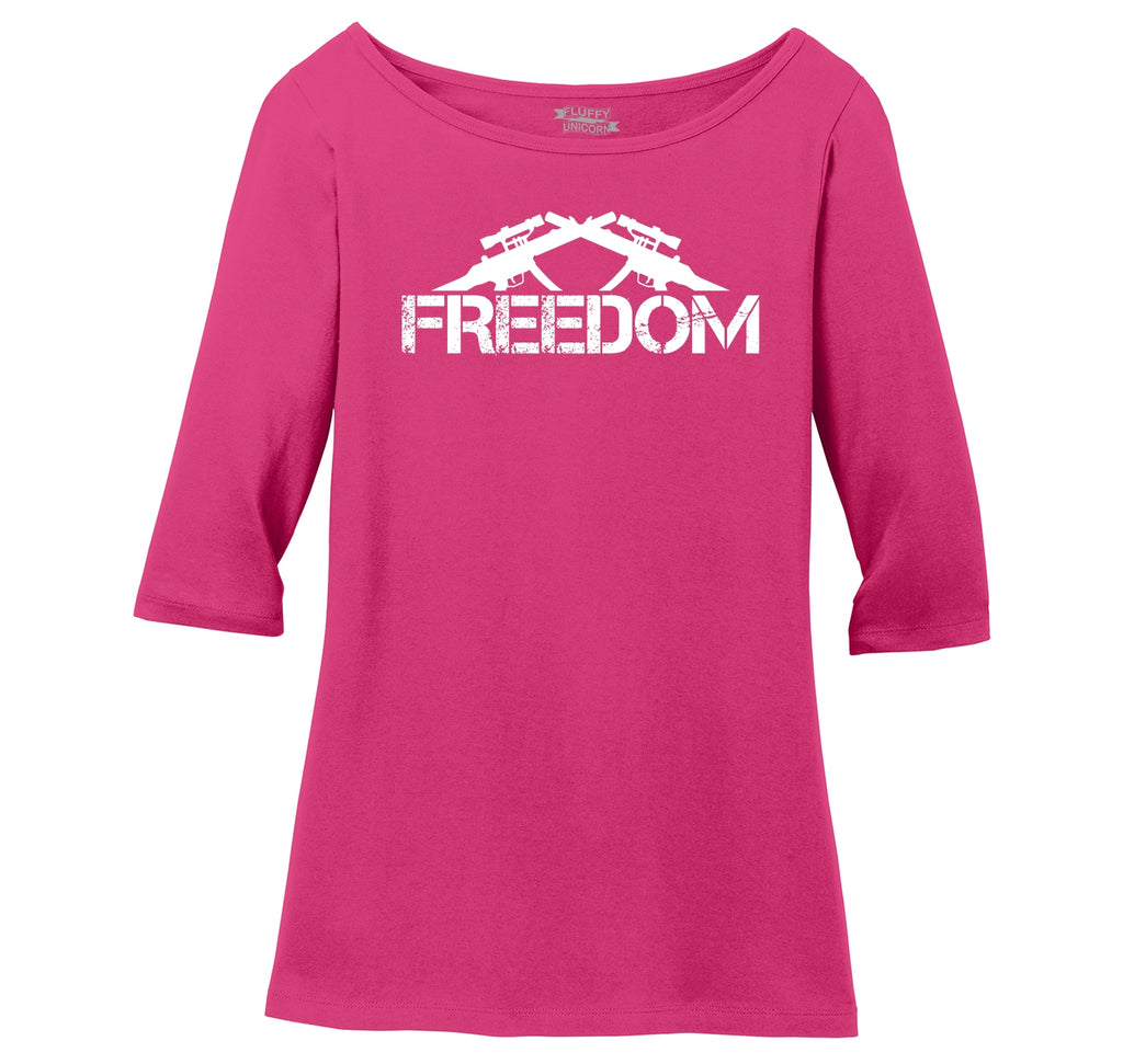 Freedom Guns T Shirt Poltical 2nd Amendment Tee Ladies Wide Neck 3/4 Sleeve Tee