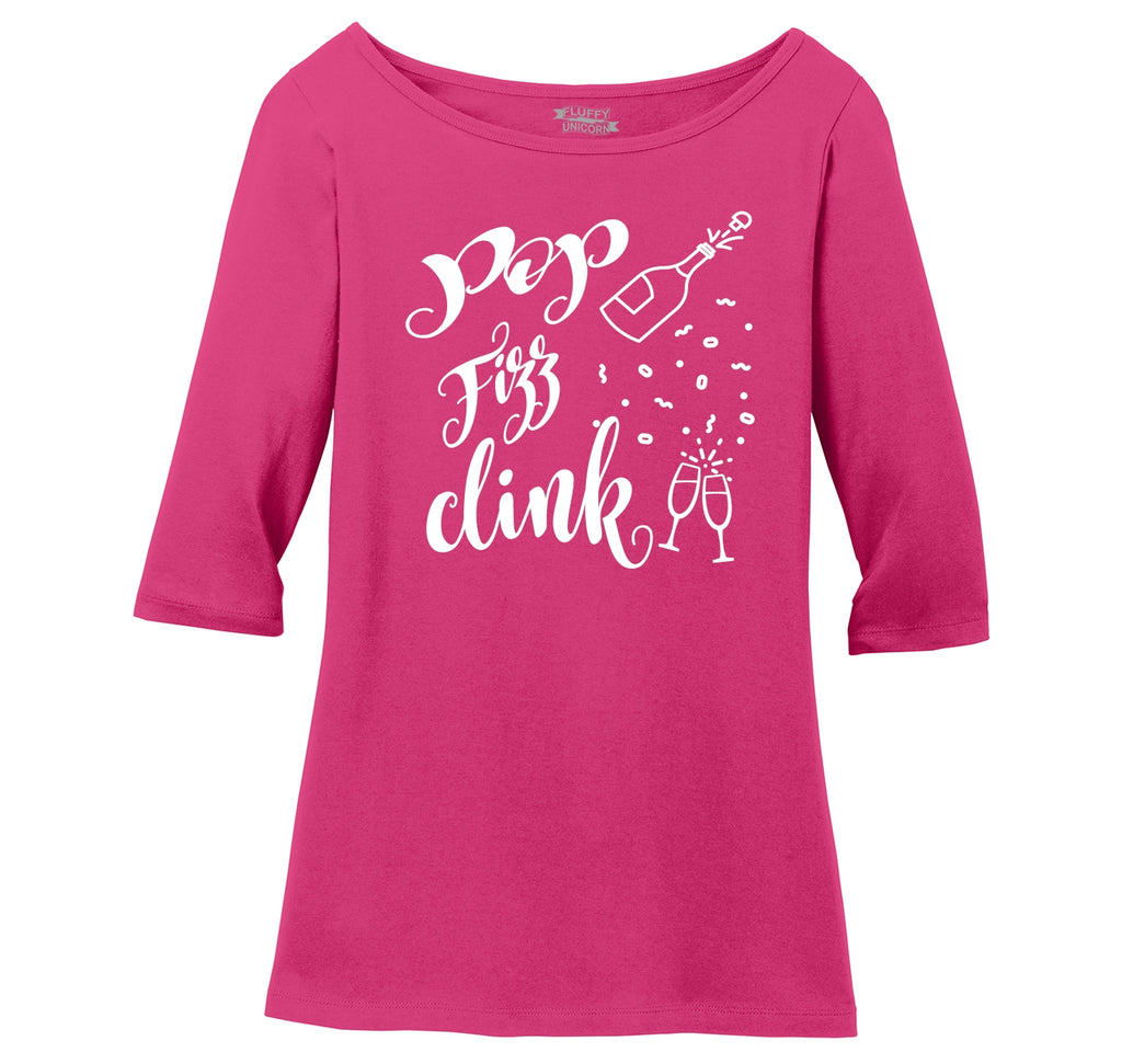 Pop Fizz Clink Ladies Wide Neck 3/4 Sleeve Tee