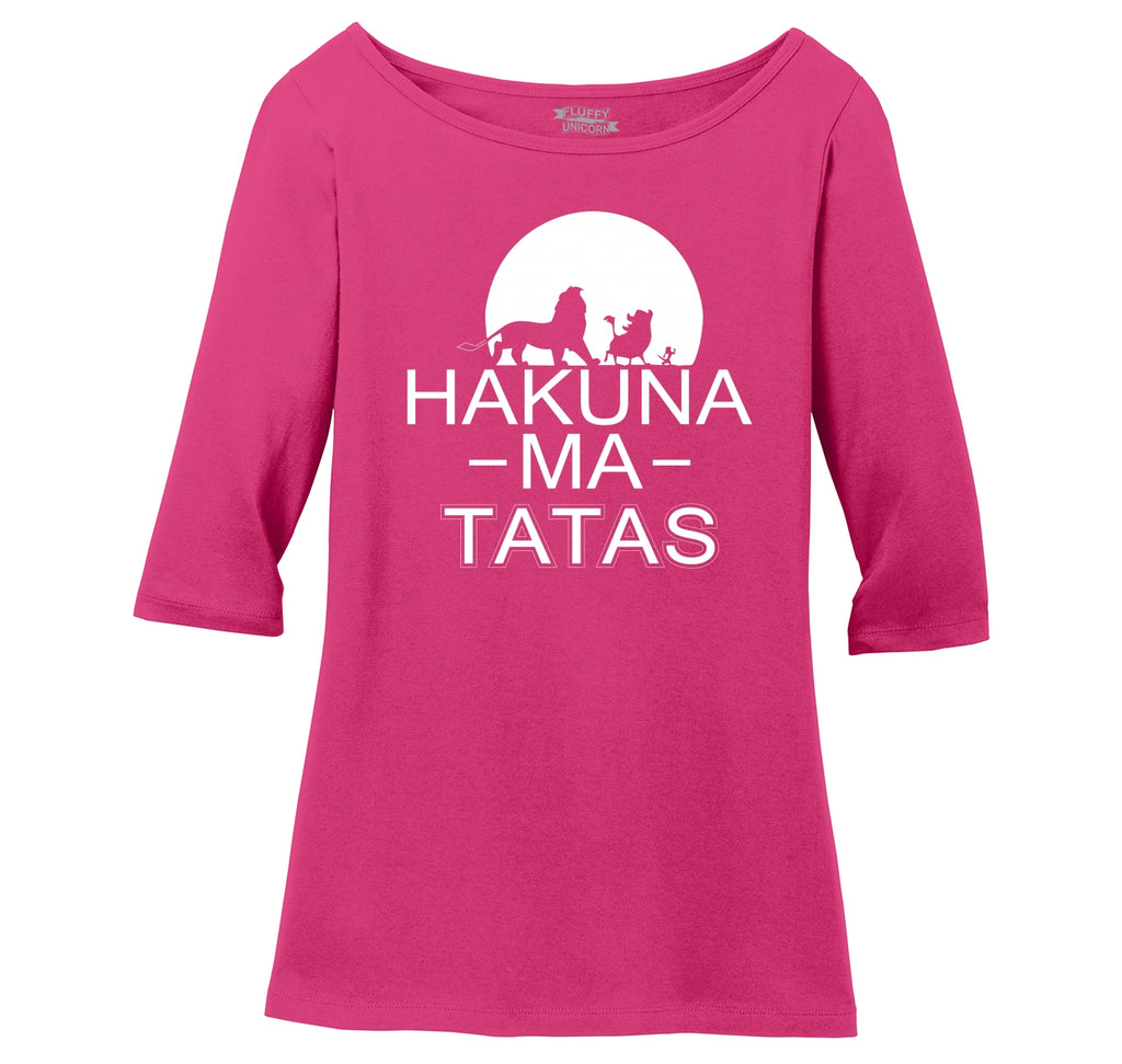 Hakuna Ma Tatas Ladies Wide Neck 3/4 Sleeve Tee