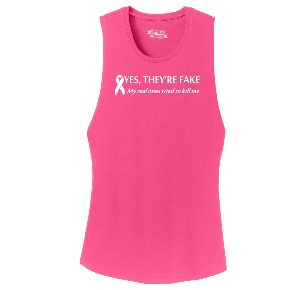 Yes They're Fake My Real Ones Tried To Kill Me Breast Cancer Awareness Shirt Ladies Festival Tank Top