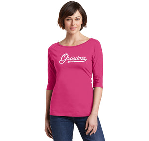 Grandma Since 2017 Shirt Cute New Baby Gift For Grandmother Ladies Wide Neck 3/4 Sleeve Tee
