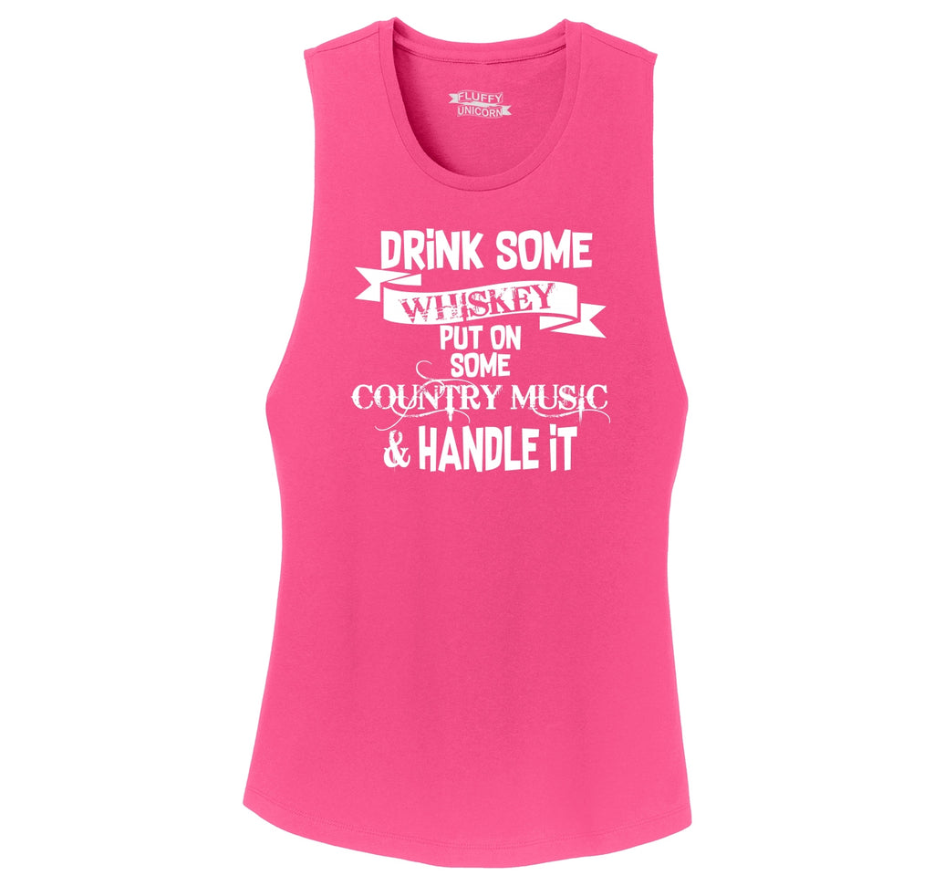 Drink Whiskey Put On Country Music Handle It Ladies Festival Tank Top
