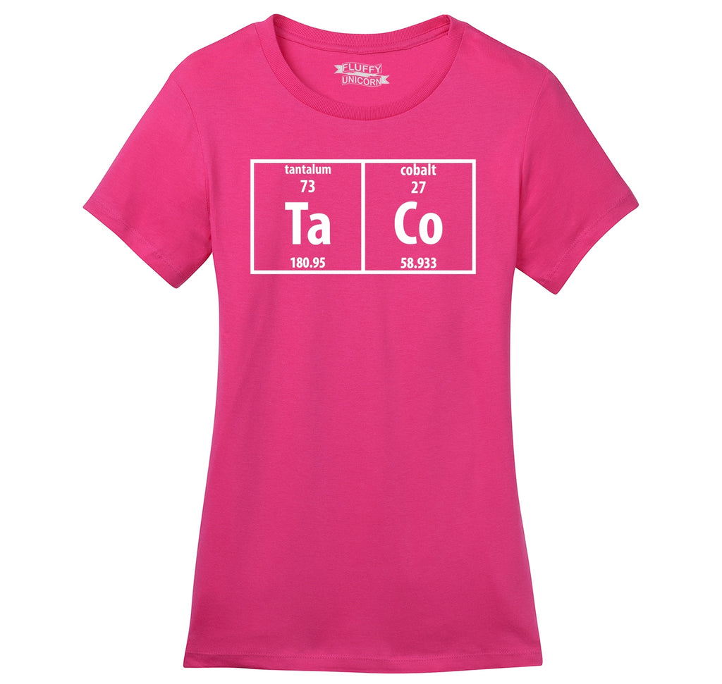 Taco Periodic Table Funny Science Shirt Geek Nerd College Ladies Ringspun Short Sleeve Tee