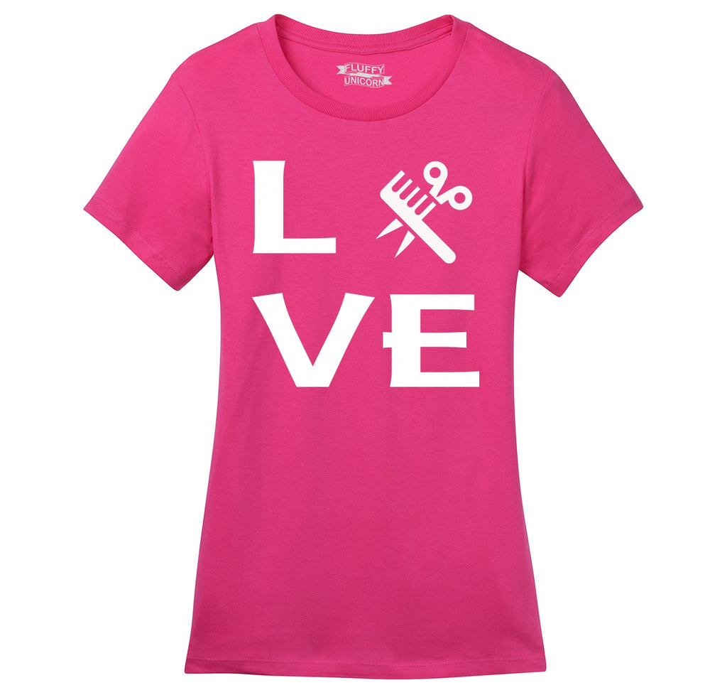 Love Hairstylist Cute Barber Gift Tee Ladies Ringspun Short Sleeve Tee