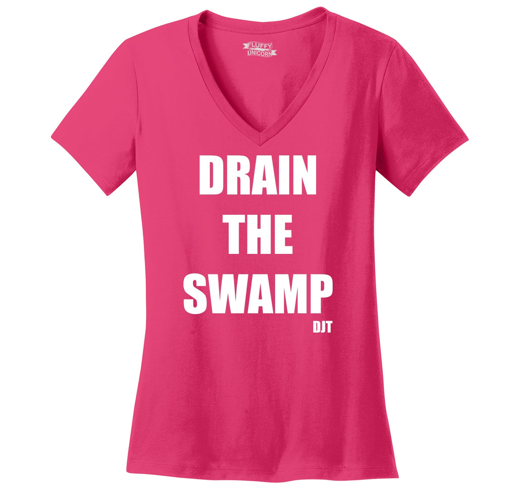 Drain The Swamp DJT Ladies Ringspun V-Neck Tee