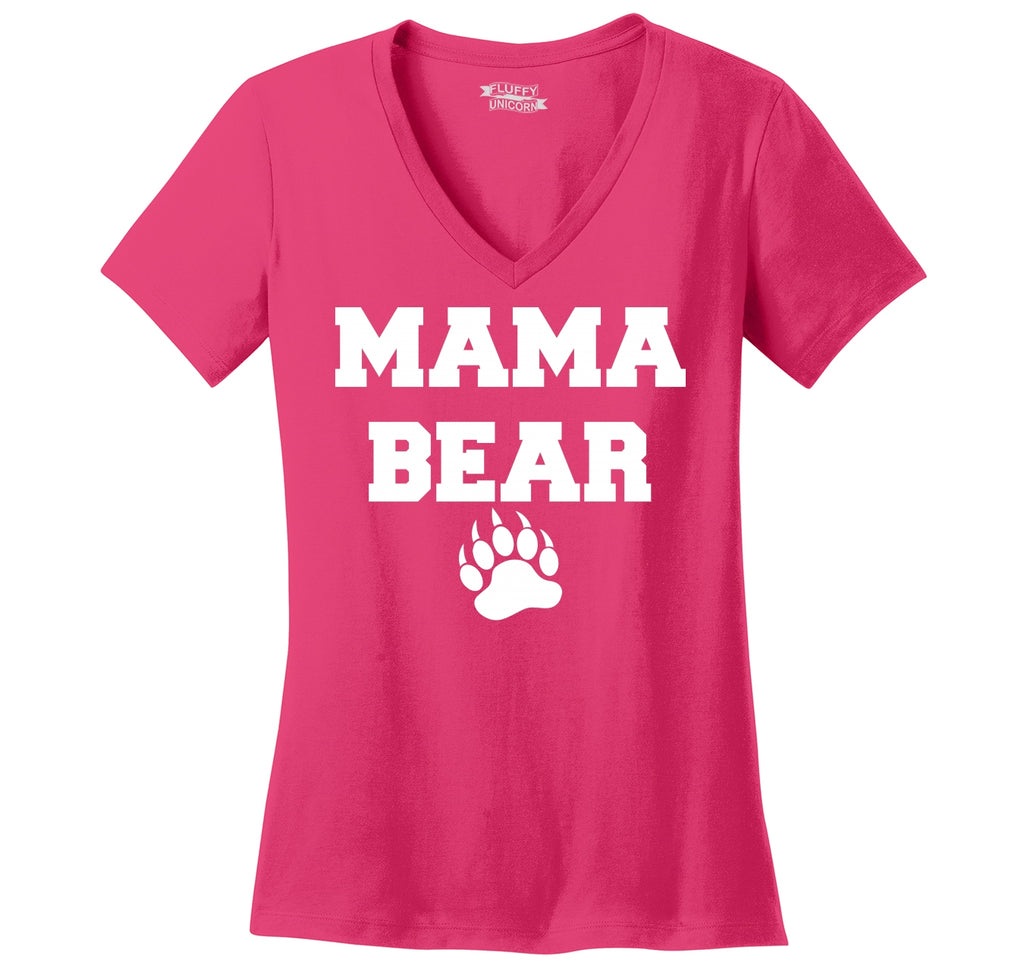 Mama Bear Ladies Ringspun V-Neck Tee