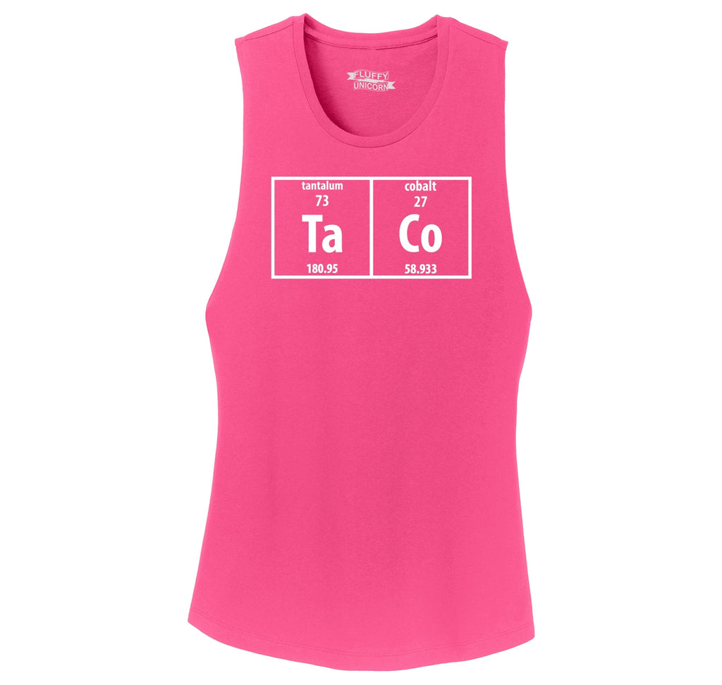 Taco Periodic Table Funny Science Shirt Geek Nerd College Ladies Festival Tank Top