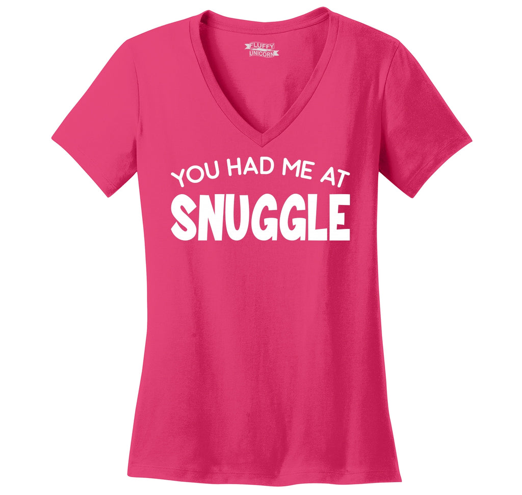 You Had Me At Snuggle Ladies Ringspun V-Neck Tee
