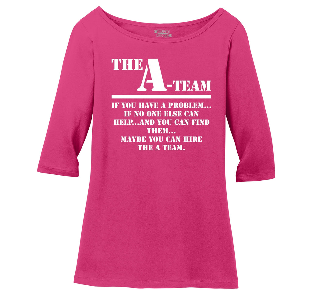 The A Team 80's TV Show Shirt Ladies Wide Neck 3/4 Sleeve Tee