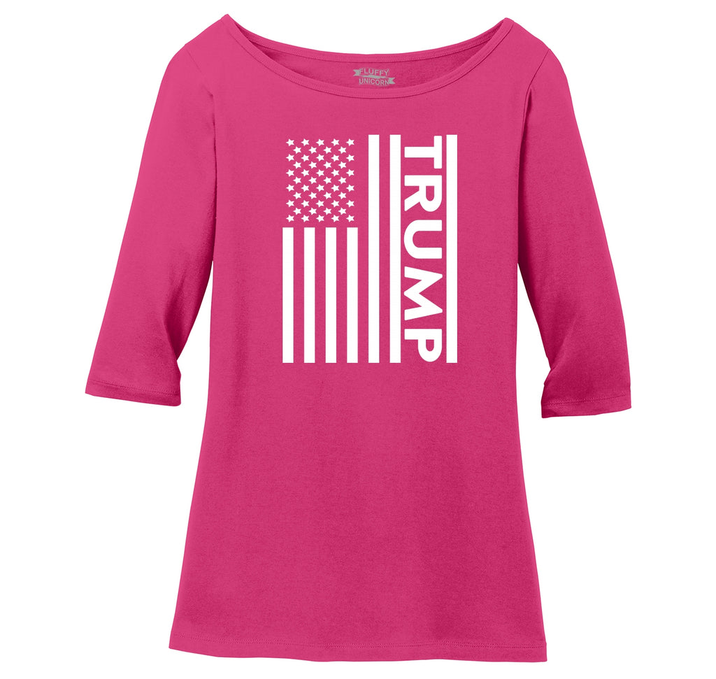Trump American Flag Ladies Wide Neck 3/4 Sleeve Tee
