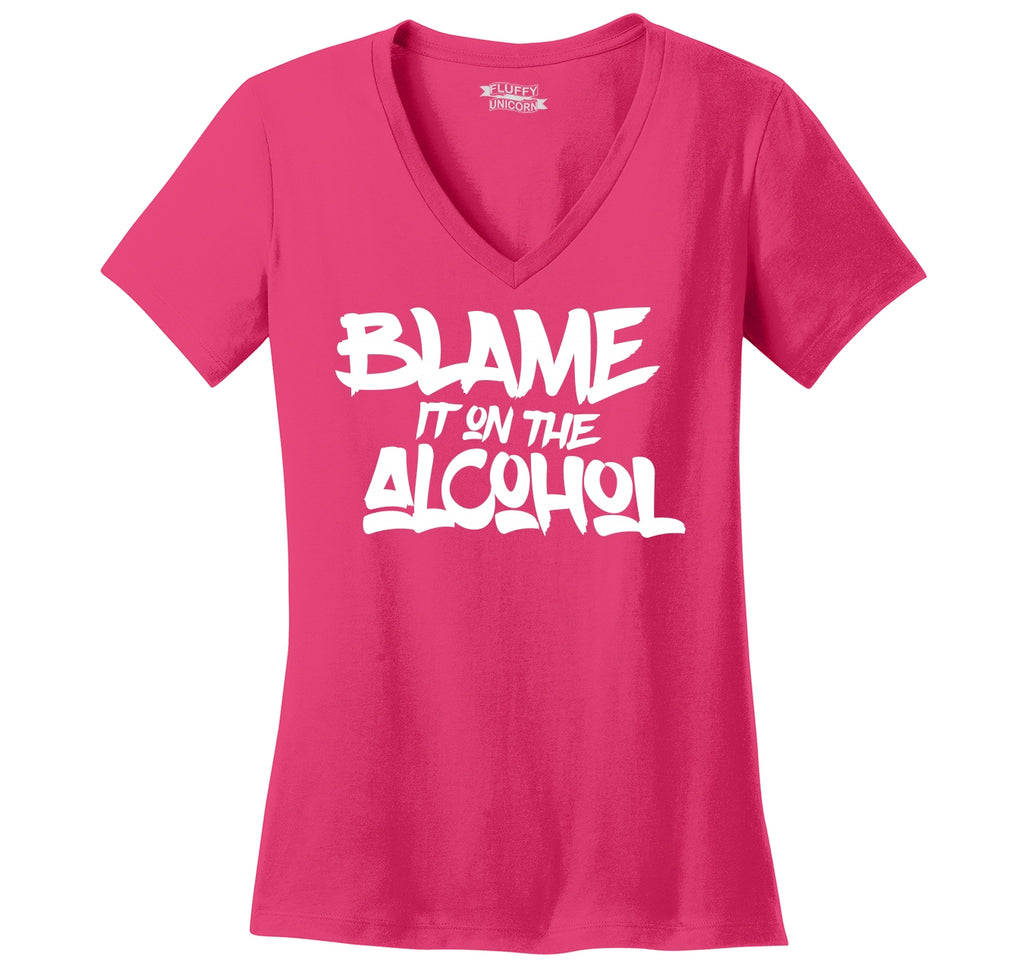 Blame It On The Alcohol Ladies Ringspun V-Neck Tee