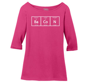 Bacon Periodic Table Ladies Wide Neck 3/4 Sleeve Tee