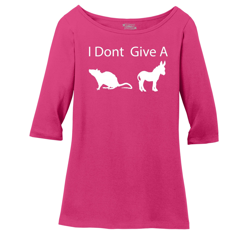 I Don't Give A Rat's Ass Funny Shirt Ladies Wide Neck 3/4 Sleeve Tee
