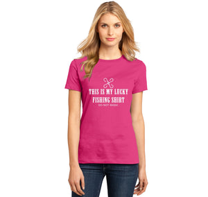 This Is My Lucky Fishing Shirt Do Not Wash Ladies Ringspun Short Sleeve Tee