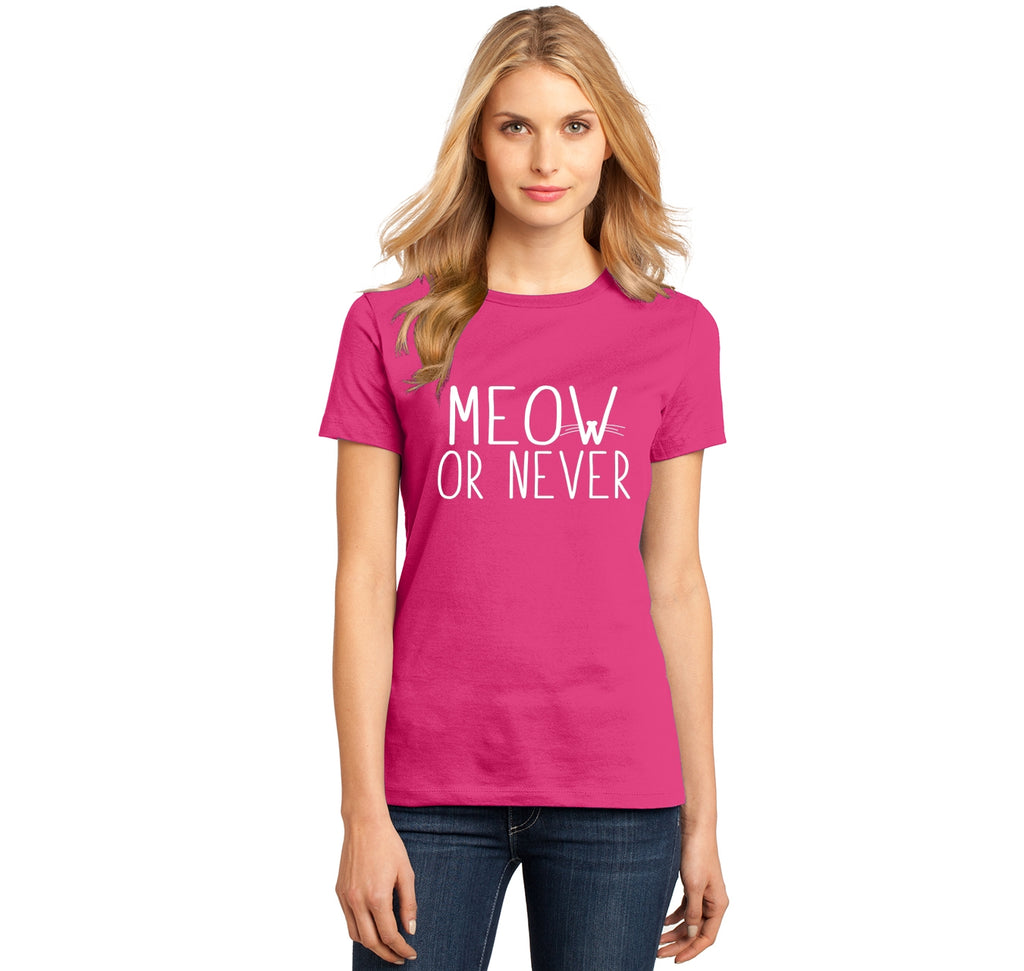 Meow Or Never Ladies Ringspun Short Sleeve Tee