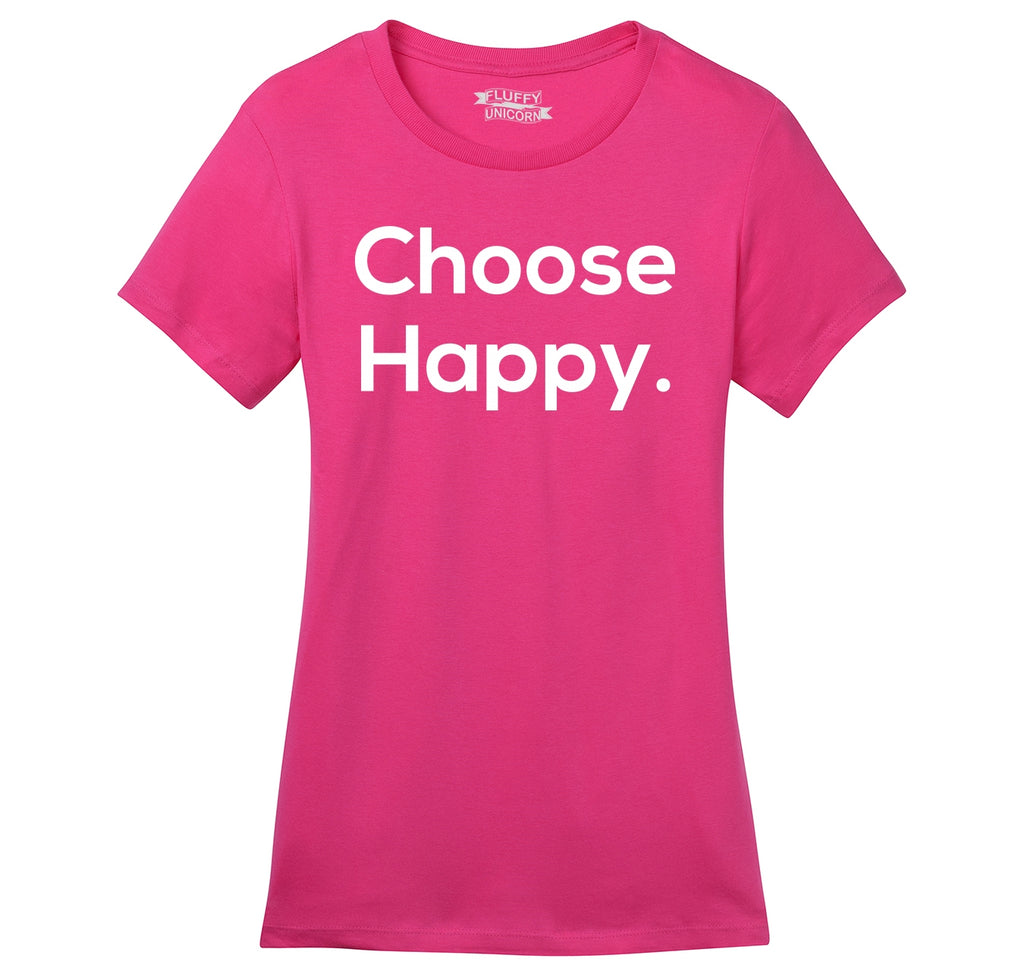 Choose Happy Ladies Ringspun Short Sleeve Tee