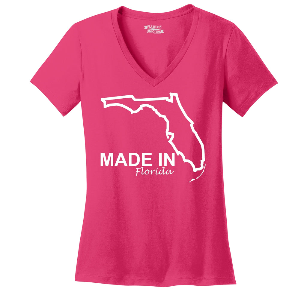 Made In Florida State Pride Shirt Ladies Ringspun V-Neck Tee